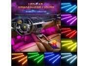 Jieyuteks 4pcs Car RGB LED Strip Light LED Strip Lights 16 Colors Car Styling Decorative Atmosphere Lamps Car Interior Light With Remote