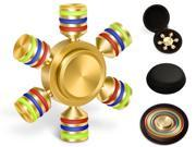 Hexagon Fidget Spinner Toys with Premium Stainless Steel Bearing 2+ Min Spin Time Brass 6 Stick Hand Spinner for Autism Adult ADHD Relief
