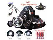 Rechargeable 4 Modes Headlamp High Power CREE XM-L 3*T6 LED Head Light Camping Hiking Hunting Lamp Head Bike Lamp Outdoor Lights 9SIACE956C3286