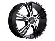 Platinum Wolverine 17X7.5 5X100/5X4.50 Blk / Diamond Cut & ML Stripe Wheels Rims