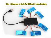 6pcs 3.7V 800mAh Lipo Battery+6in1 Charger For SYMA X5C X5C-1 X5SW X5SC X5SC-1 RC quadcopter RC Drone