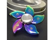 2PCS/LOT Rainbow Flower Fidget Spinner Metal Tri-Spinner EDC Hand Finger Spinner for Autism ADHD Focus Relief Stress Toys Kid Adult Gift