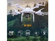Vipwind MJX X101 2.4G 3D Roll FPV Wifi RC Quadcopter Drone Helicopter 6-Axis Toy Modern (Drone without camera) (Color: White)