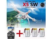 Vipwind SYMA X5SW FPV Drone with 2MP Camera RC Quadcopter WIFI RC Drone 2.4G 6-Axis Real Time Drones RC Helicopter + 3 Batteries