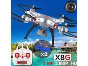 Vipwind New Quadcopter Remote Control Toys Original Syma X8G 2.4G 6 Axis Gyro 4-CH HD Camera RC Quadcopter with Extra 2pcs Batteries US Plug