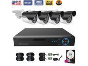TECBOX 4CH CCTV Home Security AHD Video Recorder DVR 4 720P HD IP66 Outdoor Security Cameras 65ft Night Vision Surveillance System 2TB Hard Drive Included US Ba