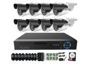 TECBOX AHD DVR 8 Channel Security Camera System with 8 HD 720P Outdoor Indoor CCTV Cameras 1.3MP Remote View Motion Detection IR CUT 500GB Hard Drive Pre instal