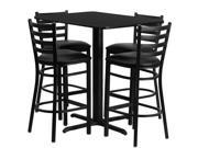 24 W x 42 L Rectangular Black Laminate Table Set with 4 Ladder Back Metal Barstools Black Vinyl Seat