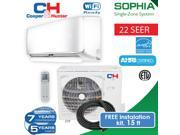 C&H 9,000 BTU 115V ductless mini split system. Air conditioning and Heat pump Installation kit with connection wire and WiFi adapter included 22 Seer 9SIACT358D6556