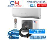 C&H 25 SEER 12,000 BTU 230V ductless mini split WiFi installed 25ft Copper Line set included 9SIACT358T3146