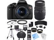 Canon EOS Rebel T6i Digital SLR Camera w/EF-S 18-55mm + 70-300mm Telephoto Lens Bundle 9SIAB925TX0776