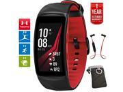Samsung Gear Fit2 Pro Fitness Smartwatch Red Large +Headphone +Extended Warranty