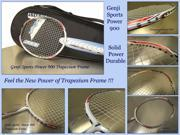 Genji Sports Model N900 Badminton Racket with New Trapezium Frame design to improve smash power and control.Best durable Light weight racket