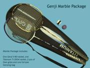 Genji Sports Marble Package Tournament Grade Badminton Racket set [Genji Titanium Ti 3004 Plus Genji V80 EFI mesh] Includes accessories