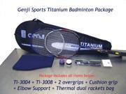Genji Sports DUAL Titanium [Ti 3004 Ti 3008 2 Overgrips Cushion Grip Elbow Supports Thermal bag]
