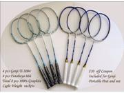 Genji Sports Badminton Club Rackets Special Package Deal 4 pcs of Titanium Power Ti 3004 and 4 pcs of Futabaya 666 Carbon Graphite