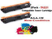 [2pk] Compatible Brother TN221 Black Toner Cartridge for Brother HL-3140CW  HL-3150CDN  HL-3170CDW  HL-3180CDW