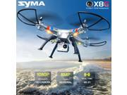 Original Syma X8G 2.4Ghz 4CH RC Headless RC Quadcopter with 8MP 1080P HD Camera Headless Mode + 2 Spare Battery