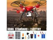 Original Syma X8HG With 8MP HD Camera Altitude Hold Mode 2.4G 4CH 6Axis RC Quadcopter RTF US Plug + 2 Battery Red Color