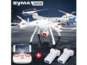 Syma X8SW Wifi FPV Quadcopter Drone 720P HD Camera RC 2.4G 4CH 6 Axis Altitude Hold + 2 Extra Battery