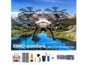 Syma X8HC-1 2.0MP HD Camera 2.4G 4CH 6-Axis Gyro RC Quadcopter Drone Remote Control Golden US Plug + 1 Set of Free Props