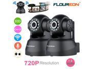 2X FLOUREON 720P HD Wifi H.264 Wireless Pan/Tilt ONVIF CCTV Home Security IP Camera Day / Night Motion Detection Webcam