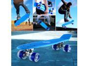 Enkeeo 22 Inch Cruiser Skateboard Fishboard with Sturdy Deck 4 PU Casters for Kid Youth Adult Blue