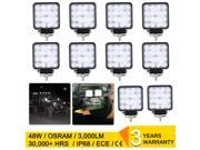 10X 48W Square Flood LED Work Light Bar Off Road 4WD Car Driving Lamp for Truck Boat ATV SUV, Waterproof IP68