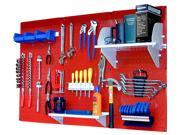 Wall Control 4ft Metal Pegboard Standard Tool Storage Kit - Red Toolboard & White Accessories