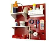 Wall Control Pegboard Hobby Craft Pegboard Organizer Storage Kit with Red Pegboard and White Accessories 9SIA00Z30T8668