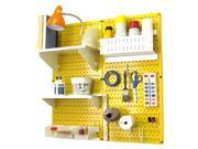 Wall Control Pegboard Hobby Craft Pegboard Organizer Storage Kit with Yellow Pegboard and White Accessories 9SIAD7N5D26016