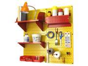 Wall Control Pegboard Hobby Craft Pegboard Organizer Storage Kit with Yellow Pegboard and Red Accessories 9SIAD7N5D25981