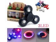 3LED light Tri Fidget Hand Spinner Torqbar Brass Finger Toy EDC Focus Gyro Black
