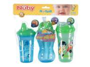 Nuby No-Spill 3-Step Grow with Me 9-oz Cup Combo - 3 Pack Green One Size