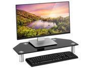 Black Glass Corner Monitor Mount Computer TV Screen Display Riser Shelf Stand 9SIADF45ZC8002