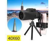 Monocular 40X60 Zoom Optical HD Lens Telescope + Tripod + Clip For Mobile Phone 9SIADF468M1518