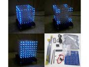 New 3D 8*8*8 3mm White Blue Ray LightSquared DIY Kit LED Light Cube 9SIV1405YJ7019