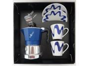 Top Moka - Top Stove Top Espresso Coffee Maker Set - with Cup and Saucer - 1 Cup - Blue/Silver - 2 Cups 9SIADHE5P53975