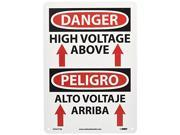 "NMC ESD677AB Bilingual OSHA Sign, Legend """"DANGER - HIGH VOLTAGE ABOVE"""" with Grap"" 9SIADHM6V20827"