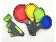 Collapsible Silicone Measuring Cups and Spoons set,with Scale for Kitchen Cooking Baking,High quality  Food Grade Silicone,colorful and 4 size for choosing (8 P 9SIADMX5X06595
