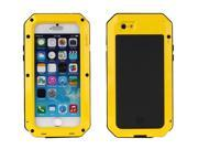 Luxury Doom armor Dirt Shock Waterproof Metal Aluminum cell phone case For iphone 6S cover+Tempered glass(yellow)