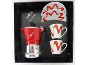 Top Moka - Top Stove Top Espresso Coffee Maker Set - with Cup and Saucer - 1 Cup - Red/Silver - 2 Cups 9SIADHE5SD7089