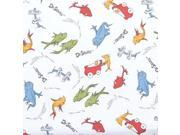 Trend Lab Dr. Seuss One Fish, Two Fish Fitted Crib Sheet, Red/Green/Blue