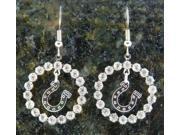 Finishing Touch Crystal Ring Horseshoe Fish Hook Earrings - Silver Finish