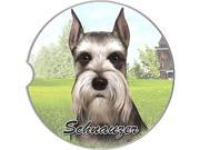 ES Pets Absorbent Stoneware Car Cup Holder Coaster, Schnauzer Cropped Ears