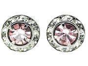 Finishing Touch Medium Rondelle Stone Show Earrings - Light Pink - Silver Finish