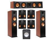Klipsch 7.1 Cherry System with 2 RP-280F Tower Speakers, 1 RP-440C Center Speaker, 4 Klipsch RP-250S Surround Speaker, 1 Premier Acoustic PA-150 Subwoofer + Aud