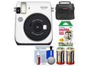 Fujifilm Instax Mini 70 Instant Film Camera (White) with 20 Prints + Case + Batteries + Kit