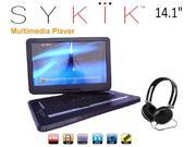 Sykik SYDVD0133 14.1 Inch All multi region zone free HD swivel portable dvd player,USB,SD card slot with headphones, Ac ada 9SIAEWA7DU4428