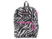 JanSport Trans Laptop Sleeve Backpack Zebra Print, Hot Pink Trim